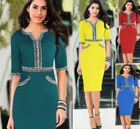 2014 new autumn shoulder lace dresses with v-neck temperament stars knee-length robe femme pencil Dress