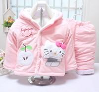 2015 baby girls lamb wool suit warm winter thicken clothing sets children's hoodies outerwear kids clothes set children