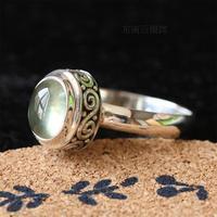 Vintage bohemia small brief carved natural prehnite oval ring