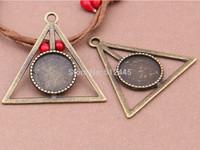 20pcs Triangle Pendant Trays,16mm Antiqued Bronze Cabochon Setting Pendant Trays Blanks