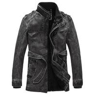 2014 Men Warm Coat PU Leather Jacket Motorcycles Fleece Windbreaker 3 Color 3 Sizes