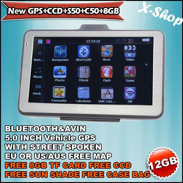 X-SHOP New GPS+CCD+S50+C50+8GB Bluetooth GPS ,CCD wirless rear camera,Sun Shade,case bag,Russia/Belarus/Ukraine/Brazil map(China (Mainland))