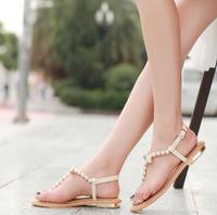 2014 Summer Flip-flop RC Pearl Flat Sandals Rhinestones Female Flat Heel Sapato Feminino Couro Women's White Sandals With Pearls