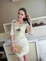 High quality bow pearl rhinestone three-dimensional decorative pattern V-neck ladies one-piece dress formal dress