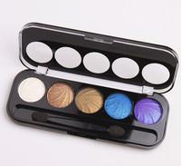 2014 new hot brand professional 5 colors makeup eyeshadow palette Shimmer Eye Shadow Brush makeup set