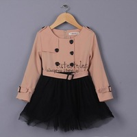 2014 Fashion Girl Dresses Lace Cute Baby Kids Wear For Children Clothing Free Shipping GD41202-5
