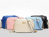 2014 Fashion Plaid Chain Bag Rivet Small Women's Bag Cross-body One Shoulder Handbag 5 Colors Free Shipping
