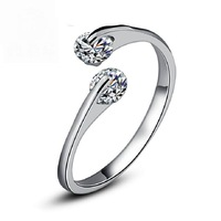 White Gold Plated Fashion Design Twin Zircon 0.25ct *2 CZ Engagement Rings