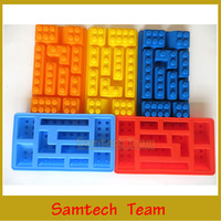 Building Block Soft Silicone Ice Box Ice Popsicle Mold DIY Water Mold Chocolate Fondant Mould 2Styles DHL/Fedex