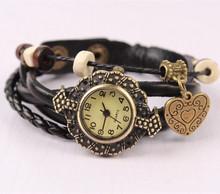 New Arrive Casual Vintage Quartz Women Dress Watchs Bracelet Watches for Girls Wrap heart Synthetic Leather Bracelet Wrist Watch(China (Mainland))