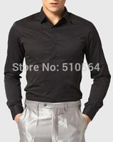 Custom made men 100%Cotton shirt Business casual men slim shirt black  shirt
