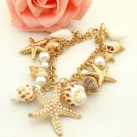Korean fashion tidal marine shells and starfish bracelet exquisite bracelet pendant