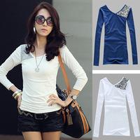 Women Blouses Casual Women Tops Patchwork Full Sleeve Blouse V-Neck Winter Autumn Shirts Blusas Femininas 2014 Brand Blusa  216