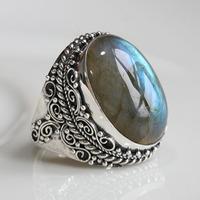 Handmade natural moonlight labradorite ring finger ring 925 pure silver blu ray