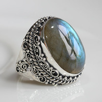 Handmade natural moonlight labradorite ring finger ring 925 pure silver blu ray