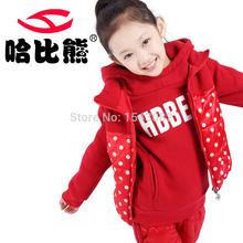HobiBear 3color Winter girl Child Clothes Sports Sets  wadded Jacket Hooded Jacket & Pants 3 Pcs hot desighnT619(China (Mainland))