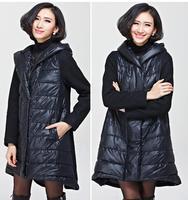 Plus Size Women Clothing Winter Coat 2014 New Europen American Long Slim Patchwork Thick Overcoat Big Size Woman Parkas XL-3XL