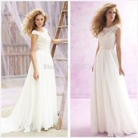 2015 New Designer A-Line Wedding Dresses Scoop Neck Cap Sleeve Open Back Bridal Gowns