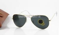 New Hot Selling Brand Name Sunglass Fashion Sunglass Men's/Woman's Designer 3025-001/62 Metal Gold Sunglass Black Lens 58mm