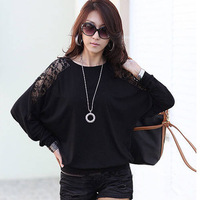 2014 Fashion Women Blouse Long Sleeve T-shirt Black Batwing Loose Blouses O-neck Shirts Hollow Out Lace Tops Plus Size 117