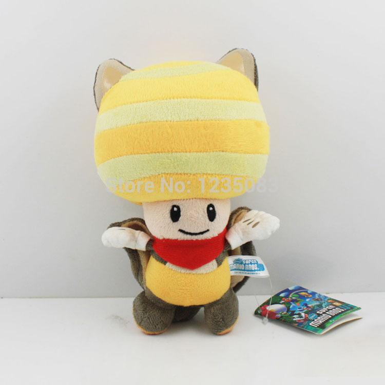 "New Super Mario Bros. U Plush Flying Squirrel Yellow Toad Soft Toy Teddy Doll 8""(China (Mainland))"
