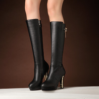 European new round head high-heeled boots boots thick with knight side zippers and female to knee boots