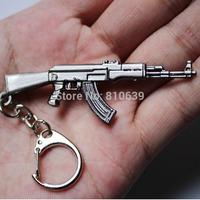 10pcs/Lot Cute Mini Gun AK47 Keychain & Cross Fire CS Assault Rifle Model Charms Machine Gun Keys Ring Collection Free Shipping