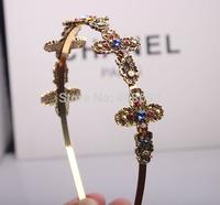 2014 new fashion Korean baroque style Stars love cross shaped fine hair hoop pressure head hoop hair accessories wholesale