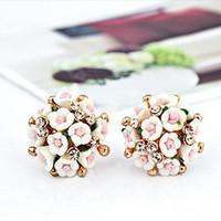 Ceramic flower Small flower set auger Stud earrings delicate 2015 Trendy  Lovely earrings female free shipping