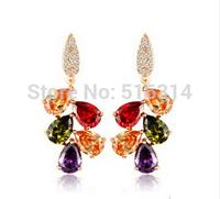 High Quality European Style CZ Zircon Earrings Fashion Women 18k Rose Gold Plated Zircon Dangle Earring Wholesale Cheap Jewelry