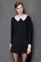 2015 new antumn winter office women black soild peter pan collar long sleeve lace work dress formal dress fashion dress 3XL-4XL