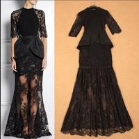 New Arrival 2015 Spring Summer Women's O Neck Half Sleeves Ruffles Lace Patchwork Elegant High Street Long Black Evening Dresses