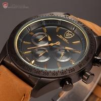 Tiger Shark 24 Hours Display  Chronograph Relogio Masculino Leather Band Mens Quartz Clock Wrist Men Military Sport Watch /SH239