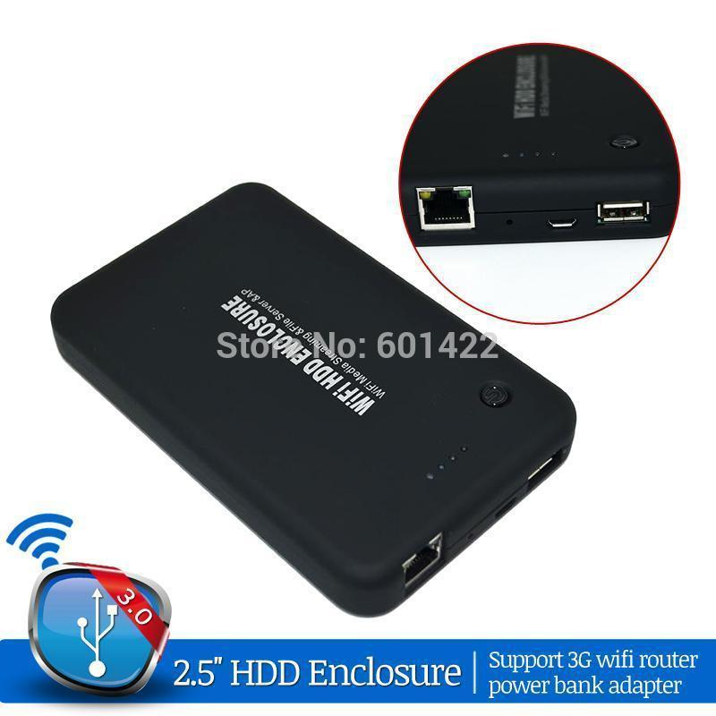 New Arrival 2.5 inch USB 3.0 Hard Drive Disk HDD External Enclosure Case With WiFi Drive Router Power Bank Adapter(China (Mainland))