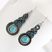 Min order is $10(mix order)Top quality Hot Sell Fashion Womens Vintage round pendant turquoise Drop Earring Jewelry