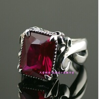 925 sterling silver ring side face red corundum retro Thai silver red corundum ring