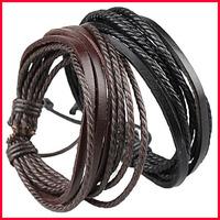 Wholesale Jewelry Wrap Charm Genuine Leather Bracelet Braided Rope Lovers Wristband 24pcs/lot - SKBTQ