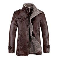 free shipping 2014 winter warm men leather coat  PU medium-long  velvet thick coat england slim pu leather jacket men