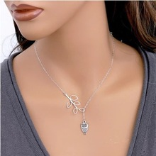 8 Style 2015 New Fashion Simple Link Chain 8 Bird Necklace Cross Silver Plated Owl Necklaces&Pendants For Women Jewelry A523
