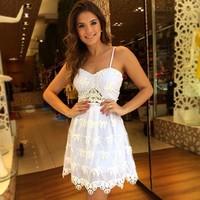 Above Knee Sleeveless Women Casual Dress  Spaghetti Strap Summer Dress 2014 New Fashion Party Dress vestidos Lace Dresses6