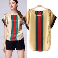 2015 Casual  European Style Women T-shirts O-neck  Chiffon Batwing SLeeve Summer Shirt Famous Brand Tops Woman Blouse CL2171