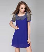 2015 brand new summer fashion women soild short sleeve hollow out chiffon dress casual dress women clothing lace dress XL-4XL