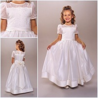 hot white kids girl embroidery short sleeves first communion dresses for girls vestidos de primera comunion