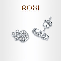 ROXI brand Strawberry Earrings platinum plated with AAA zircon,fashion Environmental Micro-Inserted Jewelry, Luxury 102019288