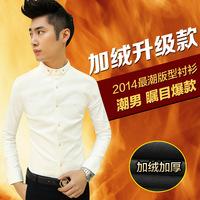 free shipping  winter male thickening plus velvet long-sleeve shirt slim male work wear