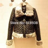 New 2014 autumn winter luxury rabbit hair fur collar quilted zipper slim PU motorcycle jacket biker jackets outerwear streetwear