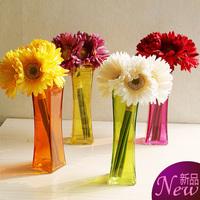 New Coming!4pc/lot Glass Flower Vase Modern Glass Square Vase Fashion Candy Color Flower bottle Home decor Table flower vase