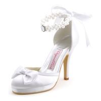 EP11074-PF  Women's White Ivory Bridal Pumps Almond Toe Bow Stiletto Heel Satin Platform Wedding Shoes