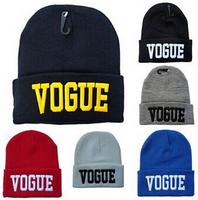 NEW Fashion VOGUE Words Beanie Knitted Hat Unisex Knitting Women and Men Hat Winter / Spring / Autumn Warm Hats Ladies Cap Hats