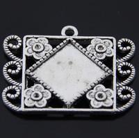 20pcs Antique Silver Vintage Style Square Pendant Trays,Blanks Bezel Setting charm pendant